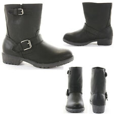 Ladies Worker Army Flat Biker Buckle Style Military Shoes Ankle Boots Size