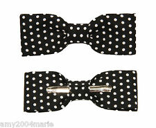 Skinny / Thin Black With White Dots Clip On Bow Tie Bow tie Men / Boys