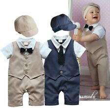 Baby Boy Wedding Christening Tuxedo Formal Suit One Piece Outfit+HAT Set 00 0 1