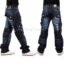 "PEVIANI""EASTRINGTON CARGO COMBAT""MENS BOYS STRAIGHT JEANS TIME IS NAPPY MONEY DB"