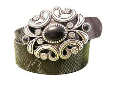 Must see limited exotic python print leather belt in black color w/oval buckle.