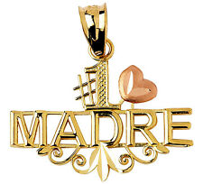 Polished 14k Two Tone Gold Number One #1 Madre Charm Pendant with Pink Heart