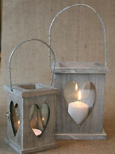 Vintage Chic Rustic Wood Candle Lantern Heart Detail Hanging Shabby Country