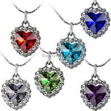 Crystal Heart Of Ocean Pendant Necklace Silver Tone Chain Birthday Gifts