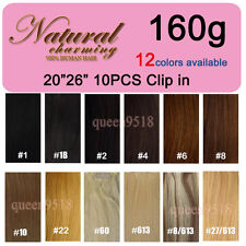 """New 20""""26""""10PCS 160g Full Head Clip in Remy Human Hair Extensions Straight Thick"""