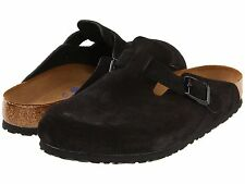 Men's Birkenstock Clogs Soft Footbed Boston Black Suede Reg