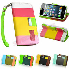 Hybrid Flip Wallet Leather Case Stand Cover Pouch For Apple iPhone 5C Pen + Film