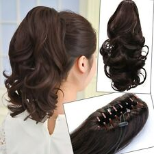 Woman Short Wavy Curly Claw Ponytail Clip in/on Hair Extensions Hairpiece  JP42