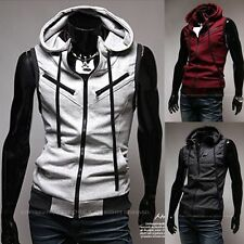 Fashion Men's Chic Multi-Zipper Design Sleeveless Hoodie Sports Vest Coat Jacket