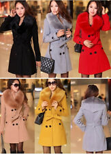 2014 new Women's Wool Faux Fur Trench Parka Double-Breasted Winter Coat Jacket