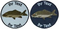fish carp patch with your text 8cm embroidered logo (576-1)