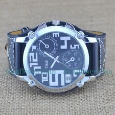 Oversize Face Sports Mens Boys Digital Dial Big Leather Band Quartz Wrist Watch