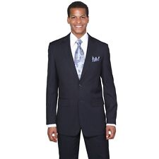 Men's Two Button Slim Fit Striped Wool Feel Suit Black Charcoal L.Brown Navy