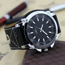 Leatheroid Band Big Dial Black New Mens Quartz Fashion Sport Wrist Watch Watches