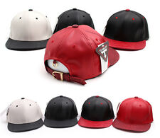 New Mens Womens Faux Leather Croc Brim Buckle Strap Snapback Hats Baseball Cap