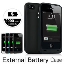 NEW 2000mAh PORTABLE CHARGER EXTERNAL POWER BACKUP BATTERY CASE FOR IPHONE 4G 4S