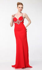 Homecoming Prom Formal Dresses Red Beaded Straps for Sheath Silhouette On Sale