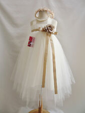 Ivory golden champagne beige tan tutu pageant birthday party flower girl dress