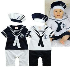 Baby Boy Girl Party Sailor Costume Suit Outfit Bodysuit Clothes+HAT Set 6-24M