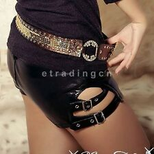 Hot Sexy Women Faux Leather PU Mini Shorts Pants Trousers Punk Dance Low Waist