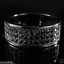 18K Black Gold Iced Out BAND HipHop Engagement MICROPAVE CZ Pinky Men Women Ring