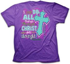 Women's Christian T-Shirt Purple I Can Do All Things Through Christ Tee Jesus