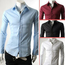 2014 Newly Luxury Men Slim Fit Casual Formal Dress Shirt Tops T-shirts Size S~XL