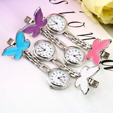 Cute Portable Butterfly Nurse Clip-on Quartz Hanging Pocket Watch New T3