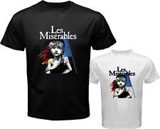 New LES MISERABLES Broadway Musical Show Men's White Black T-Shirt Size S to 3XL
