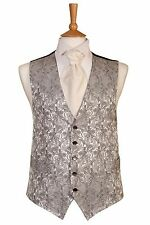 MENS AND PAGE BOYS SILVER PAISLEY WEDDING DRESS SUIT WAISTCOAT ALL SIZES £10