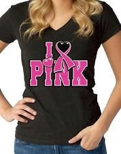 I Love Pink Breast Cancer Awareness V NECK WOMEN T-SHIRT save the boobies tee