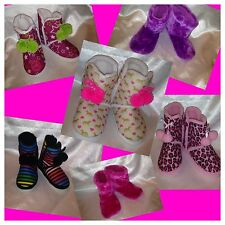 Pink Cookie Girls Booties Shoes Boots Slippers Pink S/M M/L Pink Leopard Horse