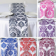 "1 Dozen FLOCKING 12 TABLE RUNNERS 12x108"" Wedding Party Catering Linens SALE"