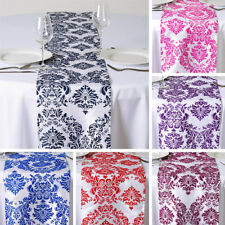 """1 Dozen FLOCKING 12 TABLE RUNNERS 12x108"""" Wedding Party Catering Linens SALE"""