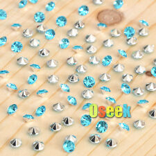 1000 Turquoise&Silver Diamond Confetti Wedding Table Scatter Crystals Decoration