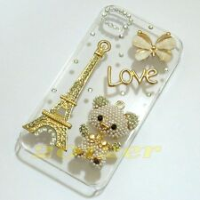 Handmade Love Eiffel Tower butterfly bling clear back case cover for iphone ipod