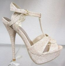 Glitter Platform Pumps Sandals Shoes t-strap PARTY PROM WEDDING Stiletto Heel