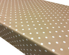 Polka Dots PVC Vinyl Wipe Clean Tablecloth - ALL SIZES Code:P101 -BEIGE