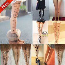 Sexy Women Tattoo Pattern Transparent Socks Tights Pantyhose Stockings SW02