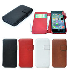 Ultra Slim Real Genuine Leather Side Open Wallet Card Case For iPhone 5s 5