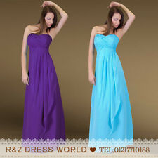 Purple Chiffon Formal Evening Ball Gown Party Prom Wedding Bridesmaid Dress 8-22