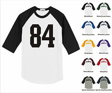 Number #84 Eighty Four Sports Raglan Baseball Jersey T-shirt Front Print