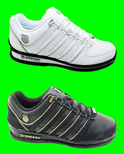 New Mens K-SWISS Rinzler Trainers Leather White Black Gold Lace Ups Size 6-12