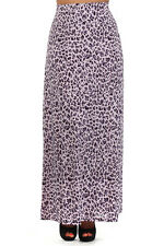 WOMENS PLUS SIZE CLOTHING PURPLE LEOPARD PRINT MAXI SKIRT