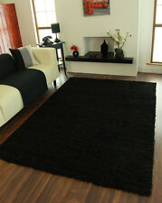 Modern Ultra Soft Thick Black Shaggy Cheap Mats Large Non Shed Living Room Rugs