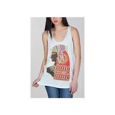 OBEY QUEEN OF THE NILE TANK Blue Mint Yellow Red Rayon Junior's Top Shirt