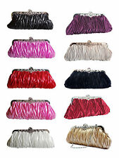 Pleated Satin Evening Bag Totes Cocktail Party Handbag Snap Closure with Chain