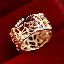 Rose Gold Filled Swarovski Crystal Women Filigree Rose Cocktail Wrap Ring R42