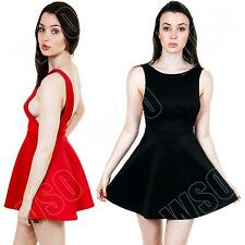 New Womens Ladies Plain Backless Party Skater Dress Skirt Size 8 10 12 14 S M L