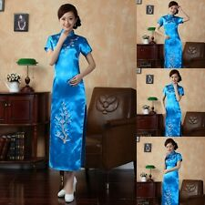 The best Chinese traditional culture clothes Cheong-sam for women dresses blue